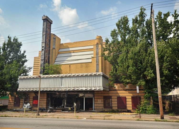 JULY 5, 2012: A fire early Thursday morning badly damaged the Ambassador Theater, an unusual Art Deco brick building on Liberty Heights Avenue in Howard Park. The Ambassador Theatre was built in 1935 by the Durkee organization as a luxurious neighborhood theater. (Amy Davis/Baltimore Sun)