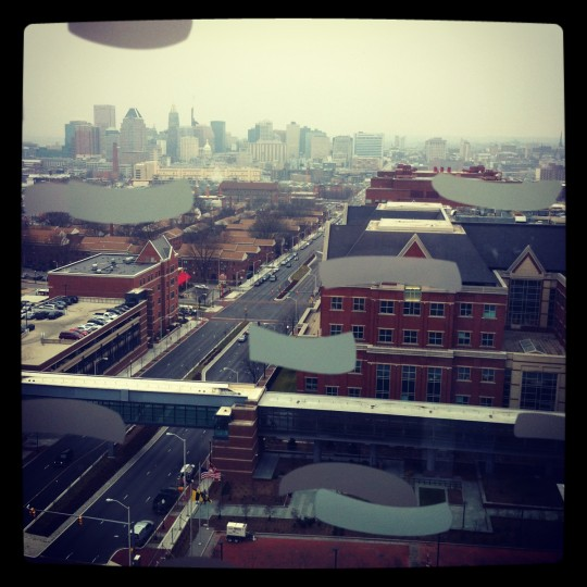 A look down Orleans Street from high up in Johns Hopkins' new Bloomberg Children's Center on Jan. 26, 2012.