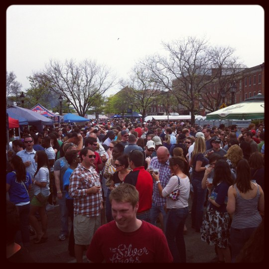 Hundreds crowd Fells Point for Brewfest, hosted by the Baltimore City Paper and featuring local, domestic and international beers for the tasting, April 14, 2012.