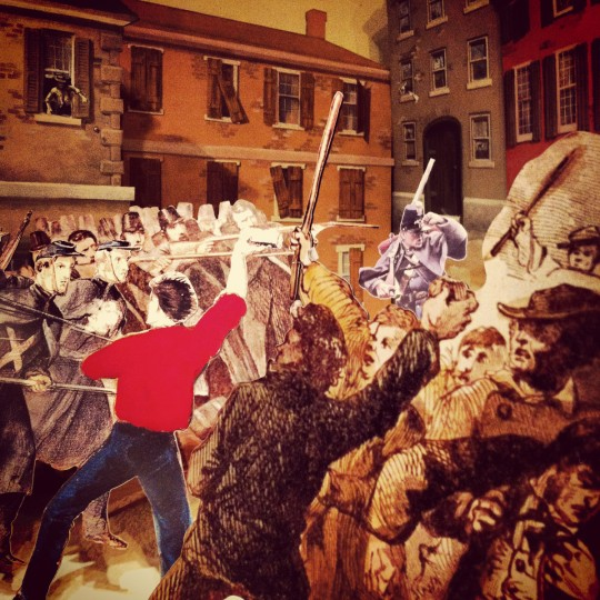 A battle scene is depicted in an exhibit using cutouts at the Civil War Museum in Harbor East, July 21, 2012.