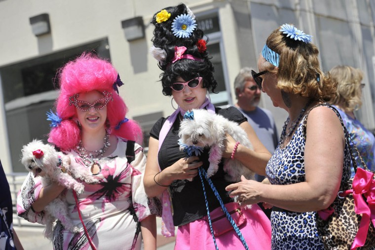 JUNE 11: Dru Harwood (left) of Gaithersburg, holding Skipper, Jennifer Rast of Bethesda, holding Scout, and Jan Lanier, of Gaithersburg, walk thorough the crowds gathered at HonFest in Hampden. (Kim Hairston/Baltimore Sun