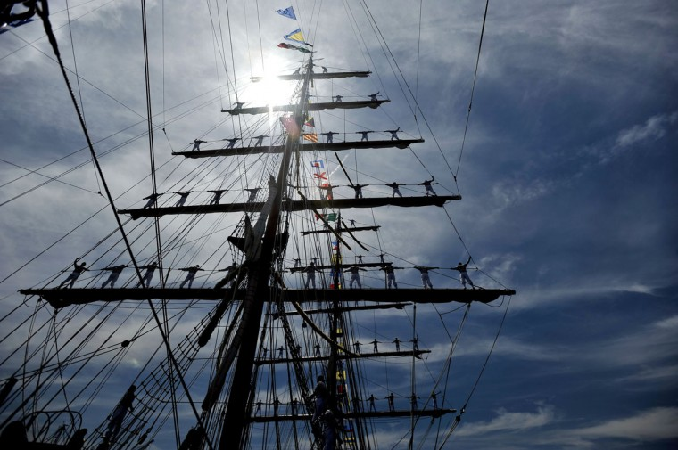 JUNE 14: Sailors stand in the rigging of the ARM Cuauhtémoc, a training vessel for the Mexican Navy, as it heads to the Inner Harbor as part of the Star-Spangled Sailabration. The event marks the 200th anniversary of the War of 1812. (Kim Hairston/Baltimore Sun)