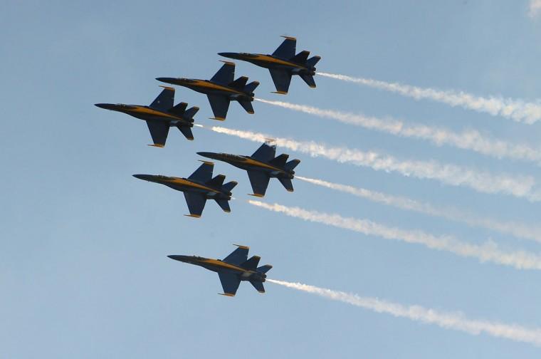 JUNE 16: The U.S. Navy's Blue Angels team practice their flight maneuvers above Fort McHenry. (Gene Sweeney Jr./Baltimore Sun)