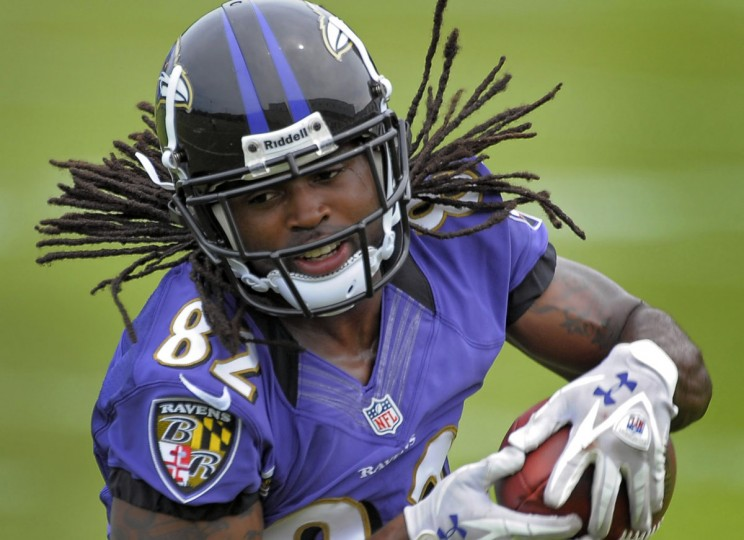 MAY 31: Baltimore Ravens wide receiver Torrey Smith hauls in a pass during the second team OTA at the Ravens training facility Wednesday, May 30, 2012. (Karl Merton Ferron/Baltimore Sun)