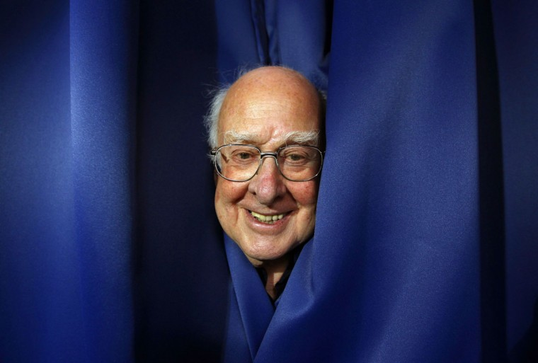 Professor Peter Higgs poses for a photograph following a news conference at the launch of The University of Edinburgh's new Higgs Centre for Theoretical Physics, Scotland. (David Moir/Reuters)