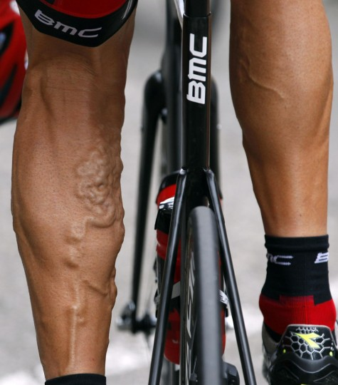 The legs of BMC Racing Team rider George Hincapie of the U.S are seen as he cycles during the 13th stage of the 99th Tour de France cycling race between Saint-Paul-Trois-Chateaux and Cap d'Agde. (Bogdan Cristel/Reuters)
