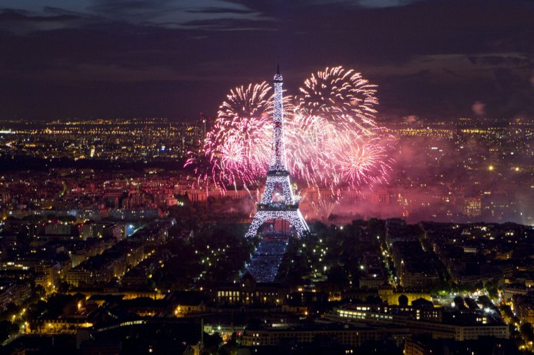 The Eiffel Tower is illuminated during the traditional Bastille Day fireworks display in Paris July 14, 2012. (Gonzalo Fuentes/Reuters)