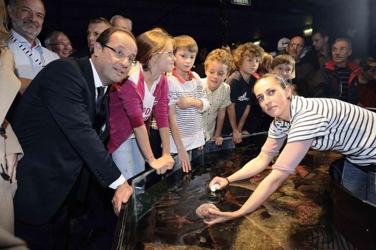 """France's President Francois Hollande (L) visits the Oceanopolis Aquatic park in Brest, western France July 14, 2012. Hollande is in Brest to attend """"Les Tonnerres de Brest 2012"""" sailing festival. (Jean-Sebastien Evrard/Pool/Reuters)"""