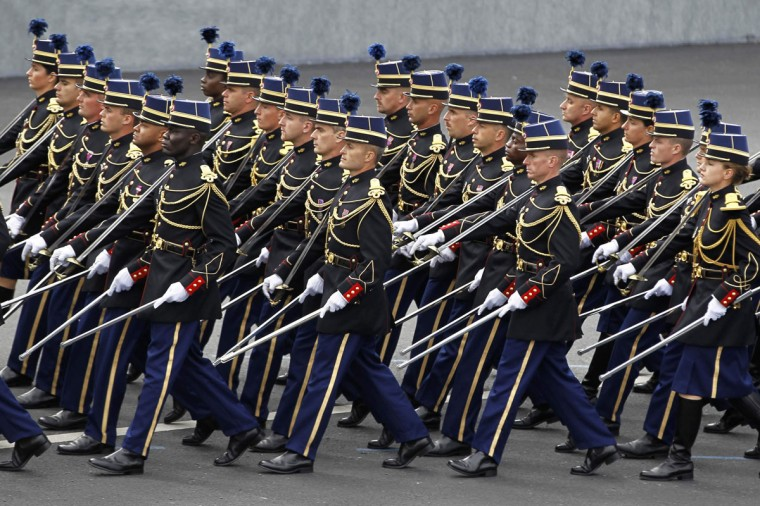 Members of the French National gendarmerie officers school take part in the traditional Bastille Day military parade in Paris July 14, 2012. (Charles Platiau/Reuters)