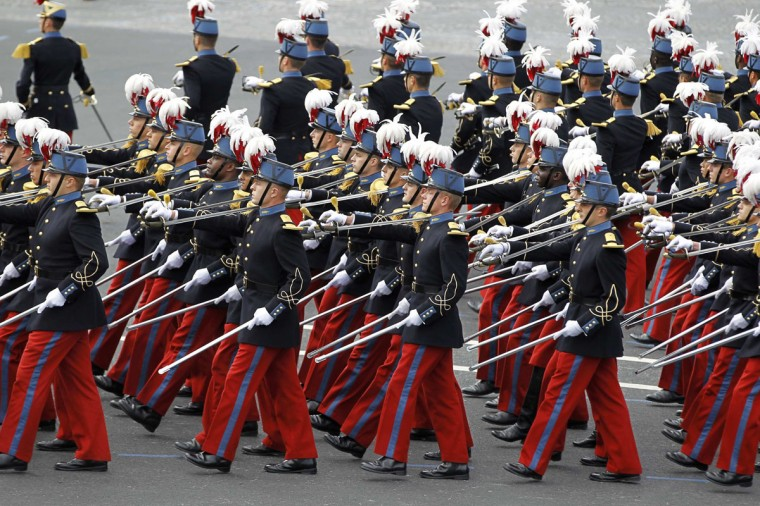 Students of the special military school of Saint-Cyr take part in the traditional Bastille Day military parade in Paris July 14, 2012. (Charles Platiau/Reuters)