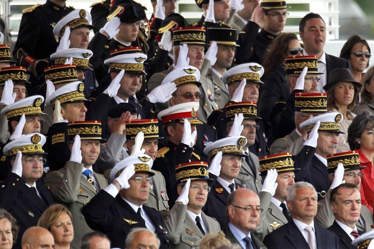 High ranking officers of the French army salute during the traditional Bastille Day military parade in Paris July 14, 2012. (Charles Platiau/Reuters)