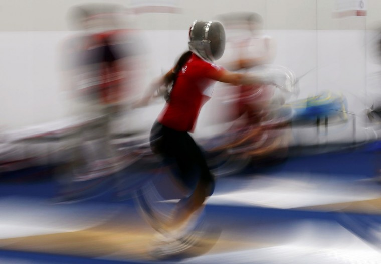 Russia's Sofiya Velikaya trains during a practice session at the ExCel venue before the start of the London 2012 Olympic Games July 26, 2012. (Darren Staples/Reuters)