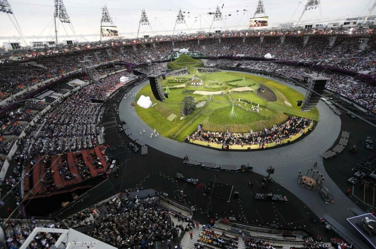 Picture shows the general view of the Olympic Stadium before the opening ceremony of the London 2012 Olympic Games, July 27, 2012. (Pawel Kopczynski/Reuters)