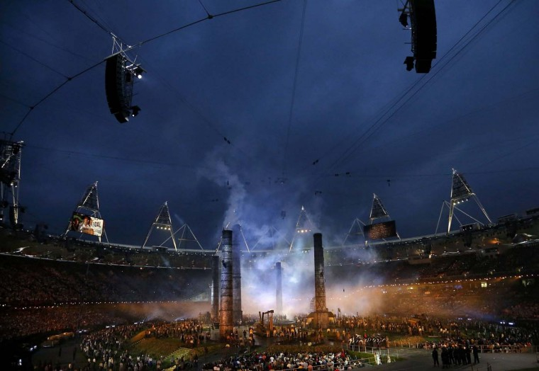 A general view shows the opening ceremony of the London 2012 Olympic Games at the Olympic Stadium July 27, 2012. (Phil Noble/Reuters)