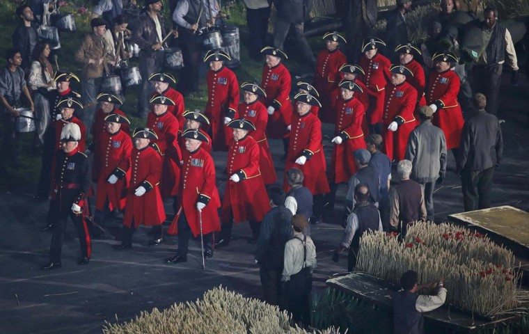 Chelsea pensioners march during the opening ceremony of the London 2012 Olympic Games at the Olympic Stadium July 27, 2012. (David Gray/Reuters)