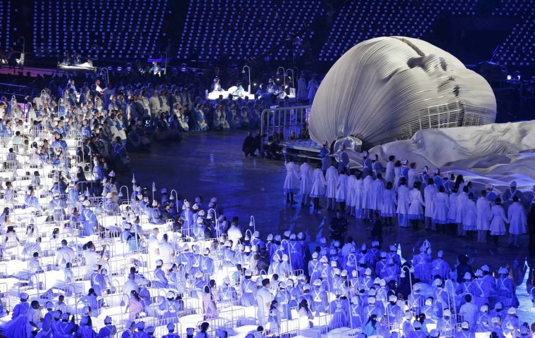 Performers take part in the opening ceremony of the London 2012 Olympics Games at the Olympic Stadium July 27, 2012. (Jorge Silva/Reuters)