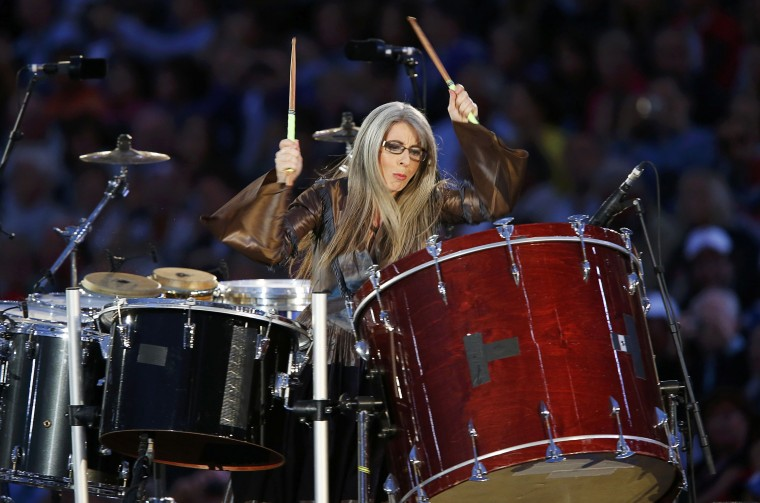 Evelyn Glennie performs on the drums during the opening ceremony of the London 2012 Olympic Games at the Olympic Stadium July, 27, 2012. (Mike Blake/Reuters)