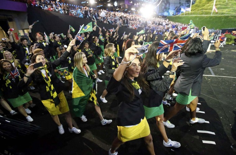 Brazil's contingent takes part in the athletes parade during the opening ceremony of the London 2012 Olympic Games at the Olympic Stadium July 27, 2012. (Mike Segar/Reuters)