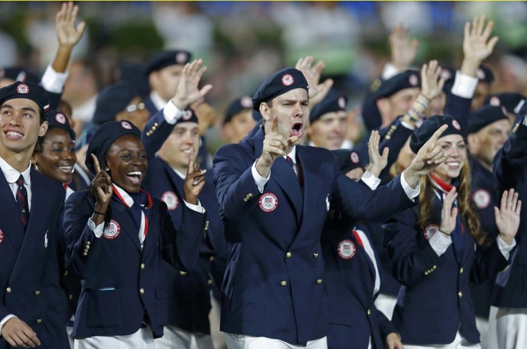Members of the U.S. team takes part in the athlete's march during the opening ceremony of the London 2012 Olympic Games at the Olympic Stadium July 27, 2012. (Suzanne Plunkett/Reuters)