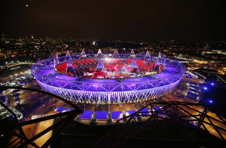 The Olympic Stadium is seen during the opening ceremony of the London 2012 Olympic Games July 27, 2012. (Marko Djurica/Reuters)