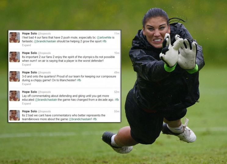 Hope Solo: While some heated tweets have crossed the line, there's still plenty of good-old-fashion feuding. Shortly after shutting out Colombia in the U.S. soccer team's second group-play game at the London Olympics, the U.S. goalkeeper took to Twitter to blast NBC analyst Brandi Chastain, who played 192 games for the national team and converted the penalty kick that gave the U.S. the 1999 World Cup title in a shootout win over China. (David Moir/Reuters)