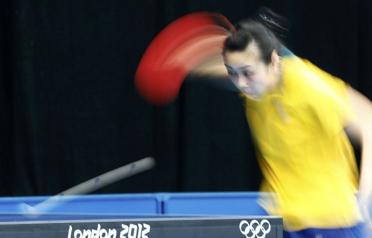 Australias's Miao Miao attends a table tennis practice session at the ExCel venue before the start of the London 2012 Olympic Games July 26, 2012. (Grigory Dukor/Reuters)