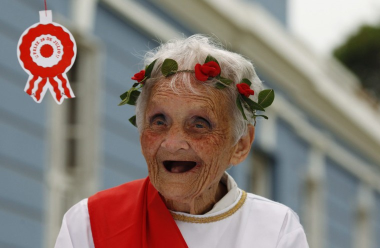 A patient wearing traditional clothes prepares for a parade as part of Independence Day celebrations at the Larco Herrera psychiatric hospital in Lima. The hospital, founded in 1917 and the biggest of its kind in Peru, currently houses more than 450 patients. Peru will celebrate its Independence Day on July 28. (Mariana Bazo/Reuters)