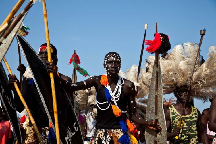 Traditional dancers perform during celebrations to mark the first anniversary of the Republic of South Sudan's independence in the capital Juba, July 9, 2012. South Sudan's President Salva Kiir vowed on Monday to confront the corruption plaguing his country a year after it declared independence. (Adriane Ohanesian/Reuters)