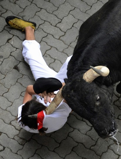 A runner is dragged by his scarf by a Dolores Aguirre fighting bull at the entrance to the bullring during the first running of the bulls of the San Fermin festival in Pamplona. One person was gored and four others injured in a run that lasted two minutes and fifty-two seconds, according to local media. (Vincent West/Reuters photo)
