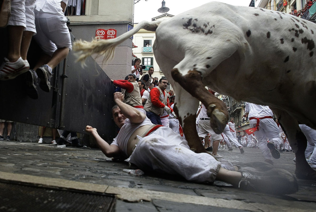 A reveller falls next to a steer during the first bull run of the famous running of the bulls San Fermin festival in Pamplona July 7, 2011. (Eloy Alonso/Reuters photo)