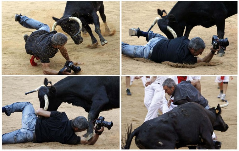 A combination photo (top-bottom, L-R) shows Reuters photographer Joseba Etxaburu being knocked down by a wild cow and getting up during festivities in the bullring following the sixth running of the bulls of the San Fermin festival in Pamplona. Etxaburu suffered some scratches on his right elbow but was able to continue shooting afterwards. (Susana Vera/Reuters photo)