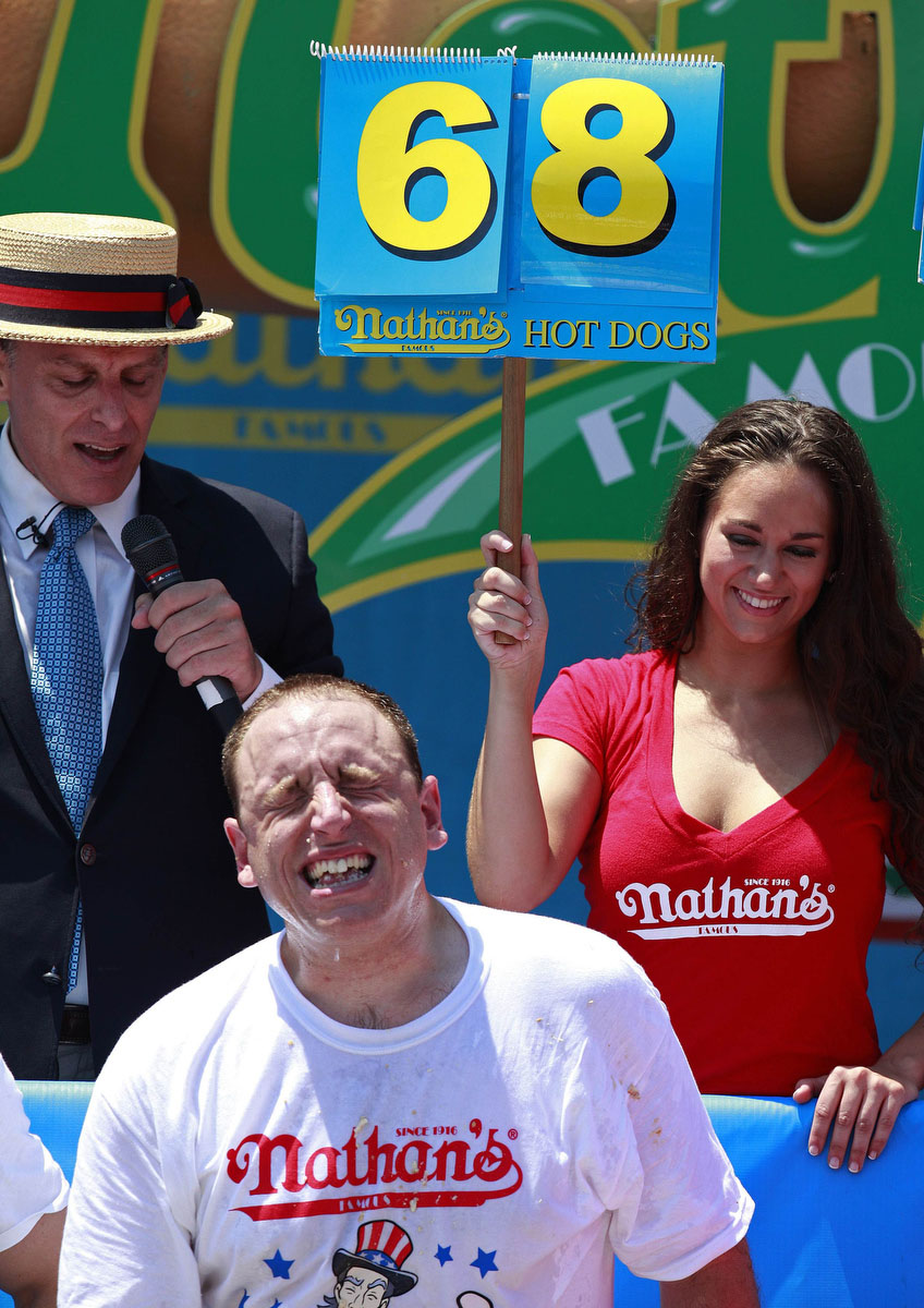 Joey Chestnut competes in the 2012 Nathan's Famous Fourth of July International Eating Contest at Coney Island in the Brooklyn borough of New York. (Eric Thayer, Reuters photo)