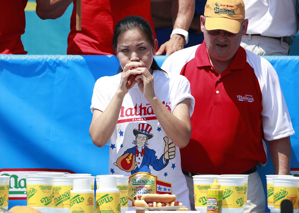Sonya Thomas competes in the 2012 Nathan's Famous Fourth of July International Eating Contest at Coney Island in the Brooklyn borough of New York. (Eric Thayer, Reuters photo)