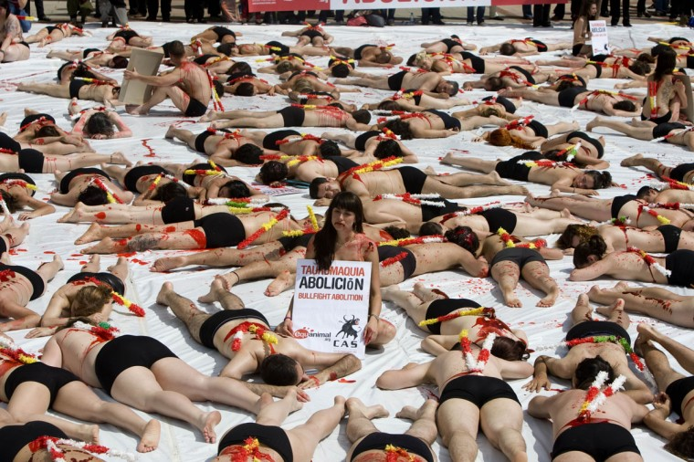 Demonstrators lie on the ground covered with fake blood during a protest against bullfighting outside Las Ventas bullring in Madrid, Sunday May 24, 2009. (Paul White/AP Photo)