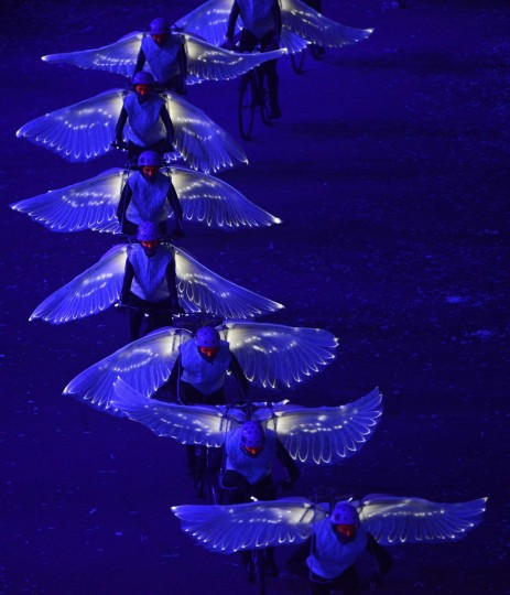 Performers take part in the opening ceremony of the London 2012 Olympic Games at the Olympic Stadium. (Dylan Martinez/Reuters)