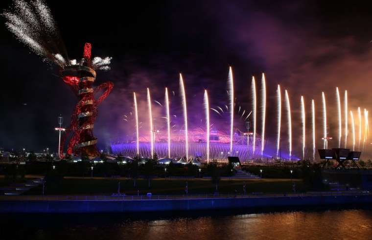 A fireworks display at Olympic Stadium closes out the Opening Ceremony for the 2012 Summer Olympic Games at Olympic Park. (Elsa/Getty Images)