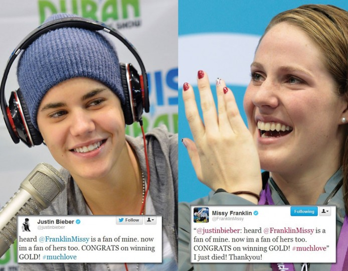 Missy Franklin: Olympians aren't the only ones connecting with their fans. Teen singer Justin Bieber took to Twitter to give a shout to U.S. gold medal winner Missy Franklin; lots of OMGs ensued.