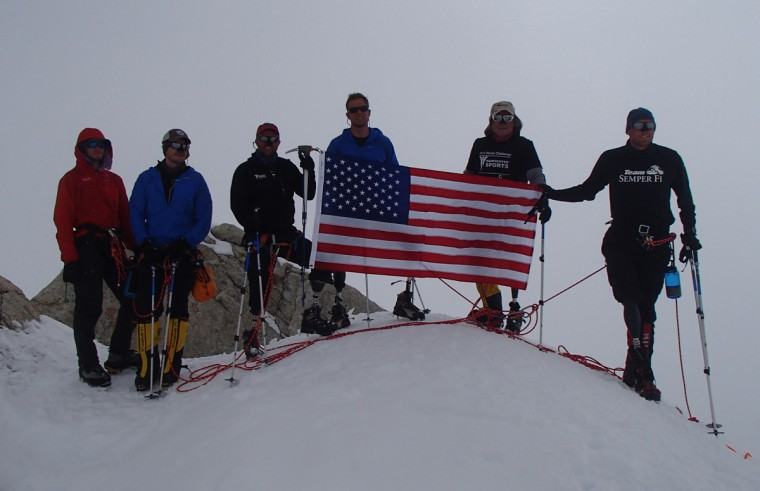 From left, Mountain Trip guide Chris Piasecki from Telluride, Co., Jesse Acosta, Steve Martin, Neil Duncan, Kirk Bauer and Dave Borden at about 15,000 feet. They could not make it to the top because of weather conditions. (Disabled Sports USA - Warfighter Sports)
