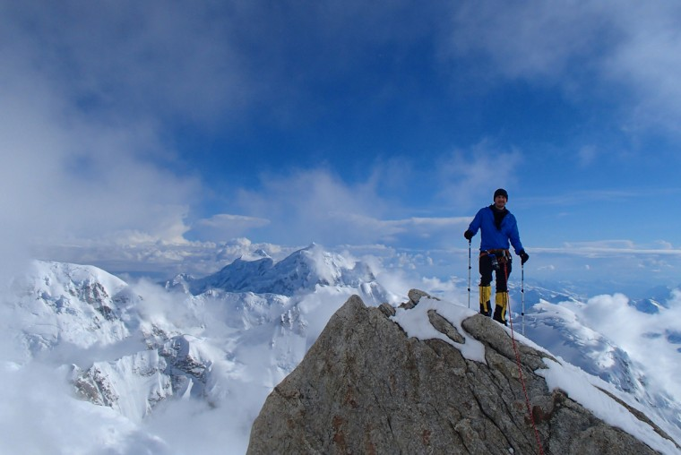 "Jesse Acosta stands at 14,000 feet on Mt. McKinley at a spot known as the ""edge of the world."" (Disabled Sports USA - Warfighter Sports)"