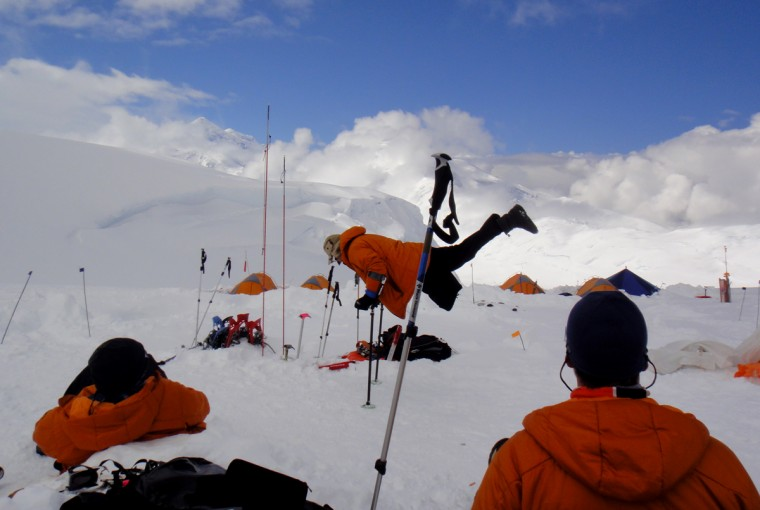 Kirk Bauer balances himself on a pair of crutches dug into the snow. (Disabled Sports USA - Warfighter Sports)