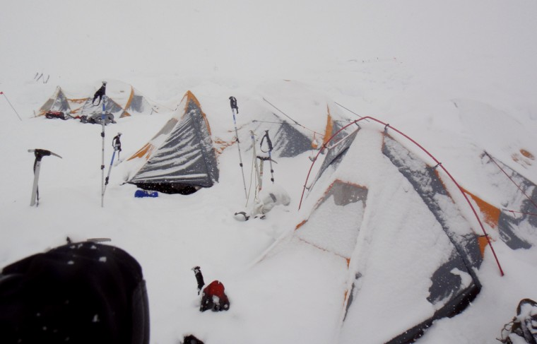 The group's tents are covered with snow after a storm. (Disabled Sports USA - Warfighter Sports)