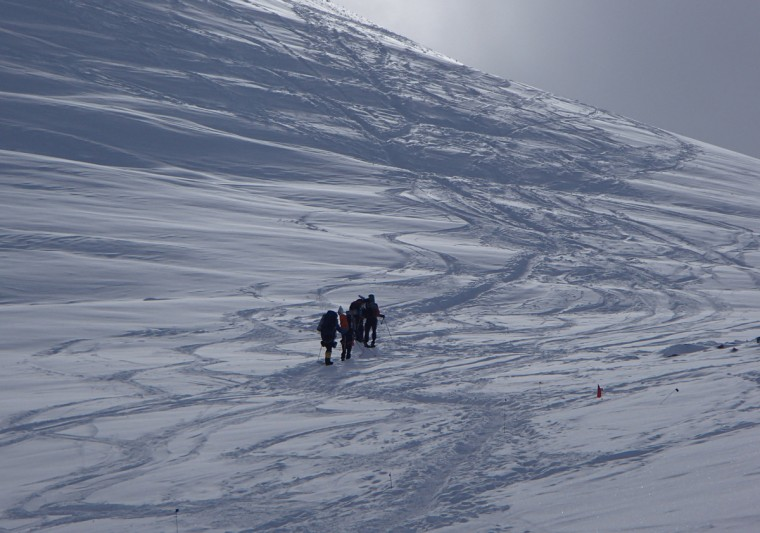 The group attempts to scale a hill at Windy Corner. Bauer said there were hills as steep as 40 degrees that they often had to climb. (Disabled Sports USA - Warfighter Sports)