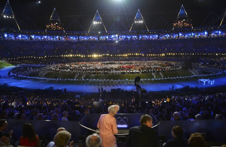 Britain's Queen Elizabeth declares the Olympic Games open during the opening ceremony of the London 2012 Olympic Games at the Olympic Stadium. (Toby Melville/Reuters)