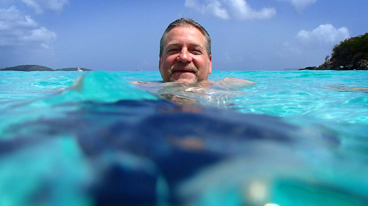 This is an example of some of the fun things you can do with an under water camera and a little imagination. I shot this portrait of my friend Terry at Trunk Bay, St. John's. (Robert K. Hamilton/Baltimore Sun)