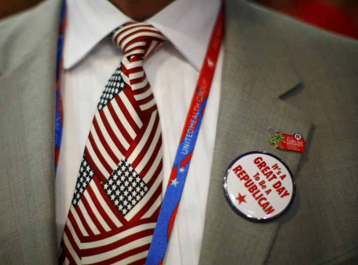 A convention goer wears a button during the second day of the Republican National Convention in Tampa, Florida. (Eric Thayer/Reuters)