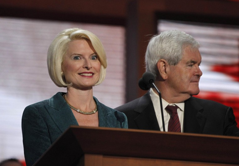 Former U.S. House Speaker Newt Gingrich and his wife Callista are pictured during a sound check at the podium on the second day of the 2012 Republican National Convention in Tampa, Florida. (Jason Reed/Reuters)