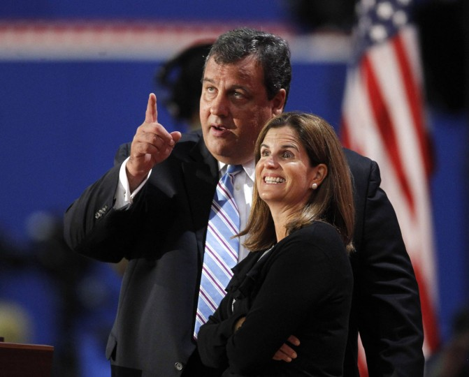 New Jersey Governor Chris Christie and his wife Mary Pat talk during a sound check on the second day of the 2012 Republican National Convention in Tampa, Florida (Jason Reed/Reuters)