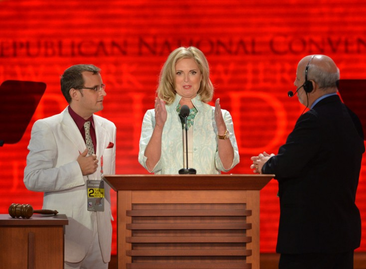 Ann Romney, wife of presidential candidate Mitt Romney, participates in a sound stage at the Tampa Bay Times Forum in Tampa, Florida before the start of the day's the Republican National Convention events. (Stan Honda/AFP/Getty Images)