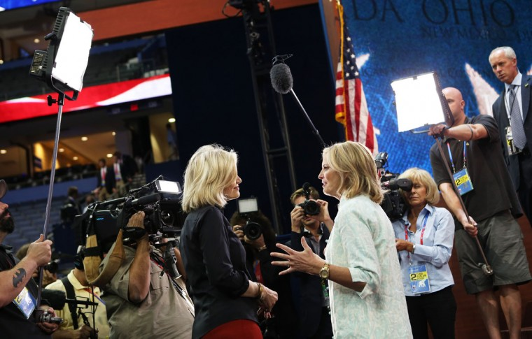 Republican presidential candidate, former Massachusetts Gov. Mitt Romney's wife, Ann Romney (R) talks to news anchor Diane Sawyer on the floor before the start of the second day of the Republican National Convention at the Tampa Bay Times Forum in Tampa, Florida. (Chip Somodevilla/Getty Images)