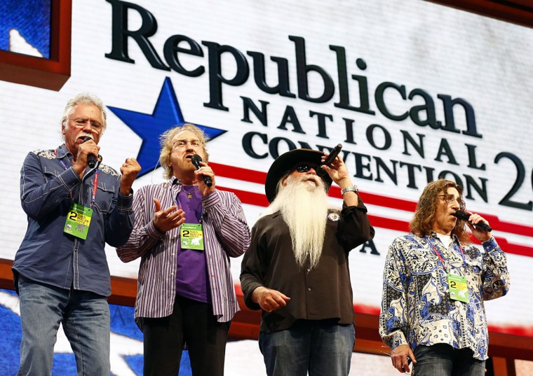The Oak Ridge Boys practice Amazing Grace before the second session of the 2012 Republican National Convention at the Tampa Bay Times Forum in Tampa. (Tom Fox/Dallas Morning News)